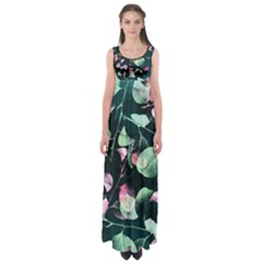 Modern Green And Pink Leaves Empire Waist Maxi Dress by DanaeStudio