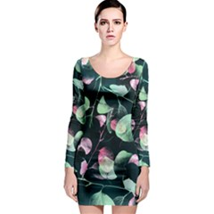 Modern Green And Pink Leaves Long Sleeve Bodycon Dress by DanaeStudio
