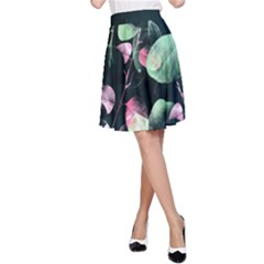 Modern Green And Pink Leaves A Line Skirt by DanaeStudio