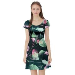 Modern Green And Pink Leaves Short Sleeve Skater Dress by DanaeStudio