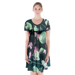 Modern Green And Pink Leaves Short Sleeve V Neck Flare Dress by DanaeStudio