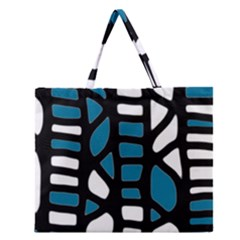 Blue Decor Zipper Large Tote Bag by Valentinaart