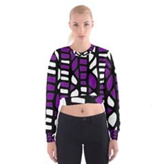 Purple Decor Women s Cropped Sweatshirt