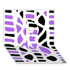 Purple Abstract Decor Ribbon 3d Greeting Card (7x5) by Valentinaart