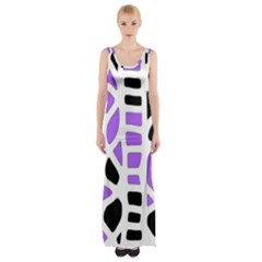 Purple Abstract Decor Maxi Thigh Split Dress by Valentinaart