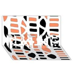 Orange Decor Best Sis 3d Greeting Card (8x4) by Valentinaart