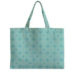 Light Blue Lattice Pattern Zipper Mini Tote Bag by TanyaDraws