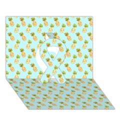 Tropical Watercolour Pineapple Pattern Ribbon 3d Greeting Card (7x5) by TanyaDraws