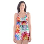 Colorful Succulents Skater Dress Swimsuit