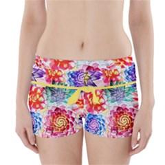 Colorful Succulents Boyleg Bikini Wrap Bottoms by DanaeStudio