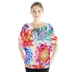Colorful Succulents Batwing Chiffon Blouse