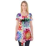 Colorful Succulents Short Sleeve Tunic