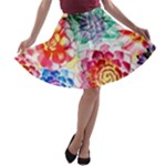 Colorful Succulents A-line Skater Skirt