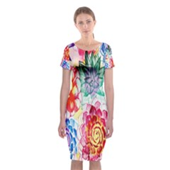 Colorful Succulents Classic Short Sleeve Midi Dress by DanaeStudio
