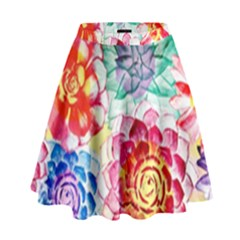 Colorful Succulents High Waist Skirt by DanaeStudio