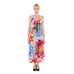 Colorful Succulents Sleeveless Maxi Dress by DanaeStudio