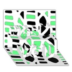 Light Green Decor Miss You 3d Greeting Card (7x5) by Valentinaart