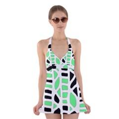 Light green decor Halter Swimsuit Dress