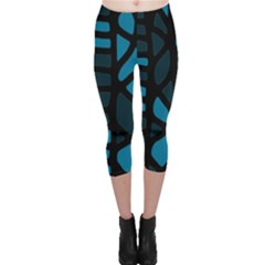 Deep blue decor Capri Leggings  by Valentinaart
