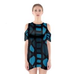 Deep Blue Decor Cutout Shoulder Dress by Valentinaart