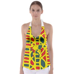 Yellow, Green And Red Decor Babydoll Tankini Top