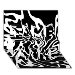 Black And White Decor Take Care 3d Greeting Card (7x5) by Valentinaart