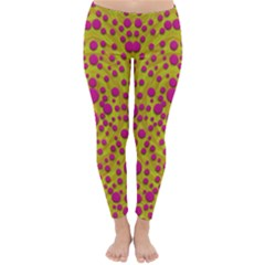 Fantasy Feathers And Polka Dots Winter Leggings  by pepitasart