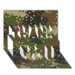 Pixel Woodland Camo Pattern THANK YOU 3D Greeting Card (7x5) by artpics