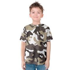 Urban White And Brown Camo Pattern Kid s Cotton Tee by artpics