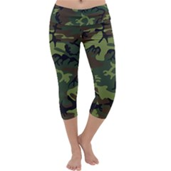 Woodland Camouflage Pattern Capri Yoga Leggings by artpics