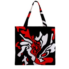 Red, Black And White Decor Zipper Grocery Tote Bag by Valentinaart