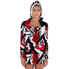 Red, black and white decor Women s Long Sleeve Hooded T-shirt by Valentinaart