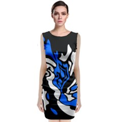 Blue, black and white decor Classic Sleeveless Midi Dress by Valentinaart