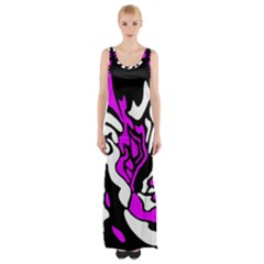 Purple, White And Black Decor Maxi Thigh Split Dress by Valentinaart