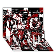 Red black and white abstract high art Miss You 3D Greeting Card (7x5)