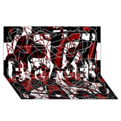 Red Black And White Abstract High Art Engaged 3d Greeting Card (8x4) by Valentinaart