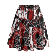 Red black and white abstract high art High Waist Skirt by Valentinaart