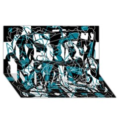 Blue, Black And White Abstract Art Merry Xmas 3d Greeting Card (8x4) by Valentinaart