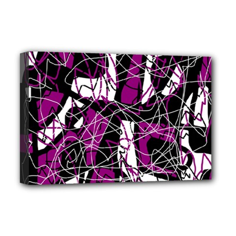 Purple, White, Black Abstract Art Deluxe Canvas 18  X 12   by Valentinaart