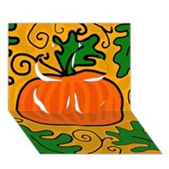 Thanksgiving Pumpkin Clover 3d Greeting Card (7x5) by Valentinaart