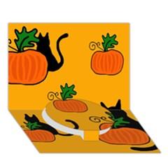 Halloween Pumpkins And Cats Circle Bottom 3d Greeting Card (7x5) by Valentinaart