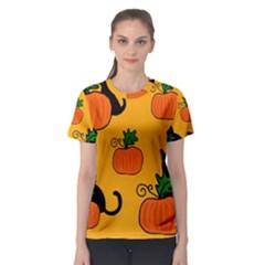 Halloween Pumpkins And Cats Women s Sport Mesh Tee by Valentinaart