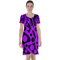 Purple and black abstract decor Short Sleeve Nightdress by Valentinaart