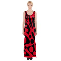 Red and black abstract decor Maxi Thigh Split Dress by Valentinaart