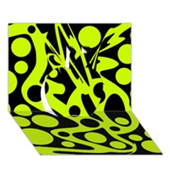 Green And Black Abstract Art Apple 3d Greeting Card (7x5) by Valentinaart