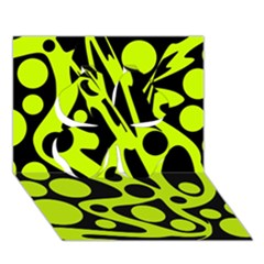 Green And Black Abstract Art Clover 3d Greeting Card (7x5) by Valentinaart