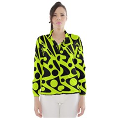 Green and black abstract art Wind Breaker (Women)