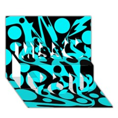 Cyan And Black Abstract Decor Miss You 3d Greeting Card (7x5) by Valentinaart