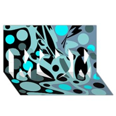 Cyan Blue Abstract Art Mom 3d Greeting Card (8x4) by Valentinaart