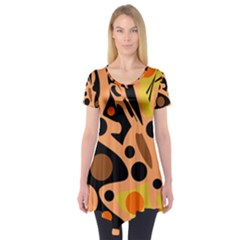 Orange abstract decor Short Sleeve Tunic  by Valentinaart